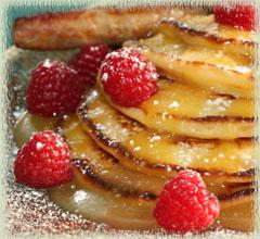 Bobby Flay's Lemon Ricotta Pancakes with Lemon Curd & Fresh Raspberries