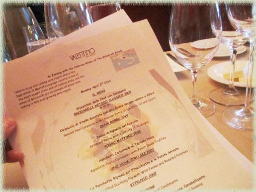 Valentino's Briziarelli Dinner Menu