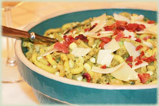 Zucchini, Corn & Basil Pasta with Bacon (gluten-free)