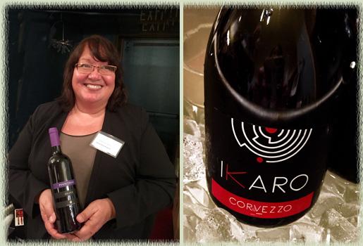 Roberta Enriquez of Mintie Wine & Spirits pouring the Olivi Le Buche Winery 2010 Pugnitello; the 2014 Raboso Ikaro Sparkling IGT Delle Venezie from Azienda Agricola F.lli Corvezzo