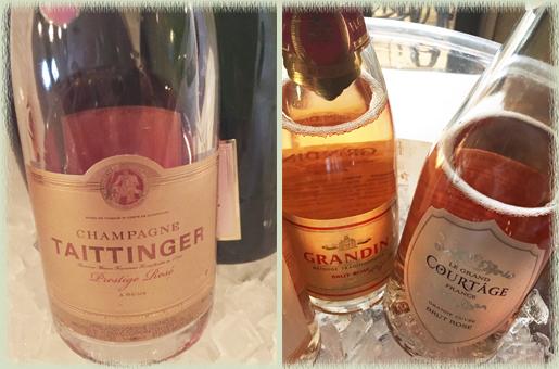Champagne Taittinger NV Prestige Rose; Grandin NV Brut Rose; Courtage NV Grande Cuvee Brut Rose
