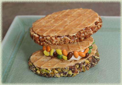Lemon Curd Butter Waffle Ice Cream Sandwiches